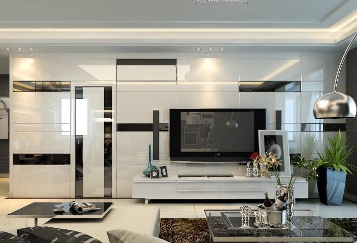 后现代风格40平米小户型客厅抽象画效果图