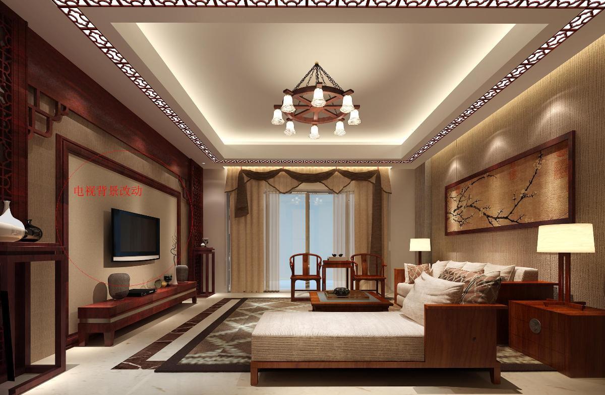 现代中式风格大厅效果图