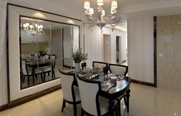 餐厅视觉对面设计镜面餐厅,用背景酒柜来设计扩大或者延伸公司贾汪装修设计玻璃图片