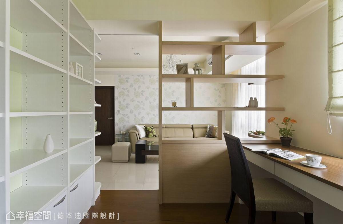 白色墙面搭配黄色系系统柜打造活泼可爱的孩子房,床头柜与书柜一体