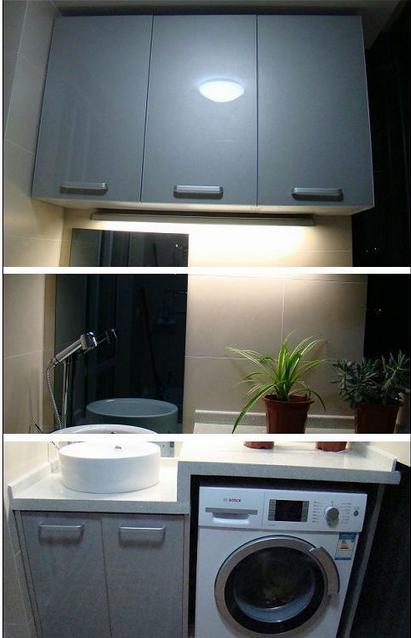 6宽.台盆可以做圆形的.上面做吊柜放洗衣用品. 入户鞋柜的参考如图