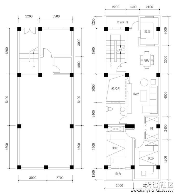 6米x15米自建房结构图