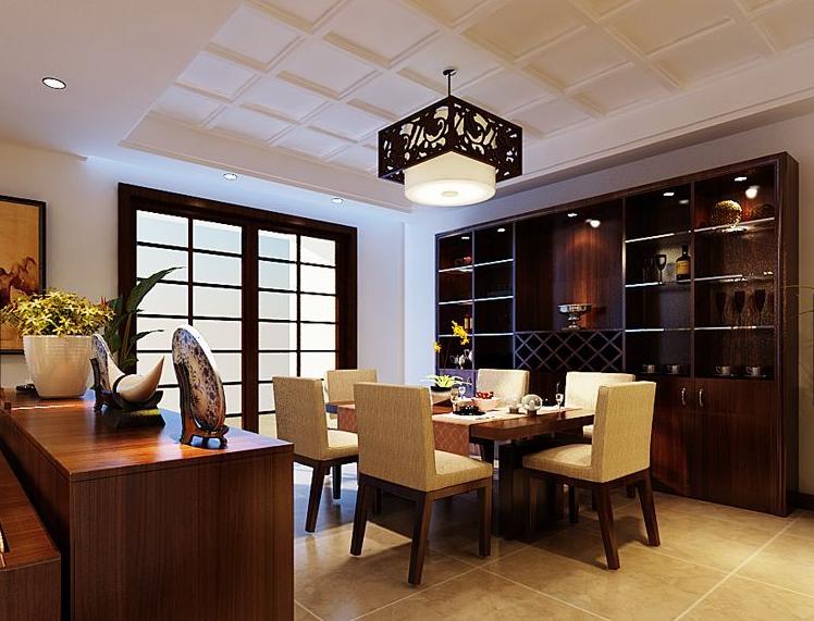 山河三室两厅114平新中式风格装修案例——客厅装修效果图