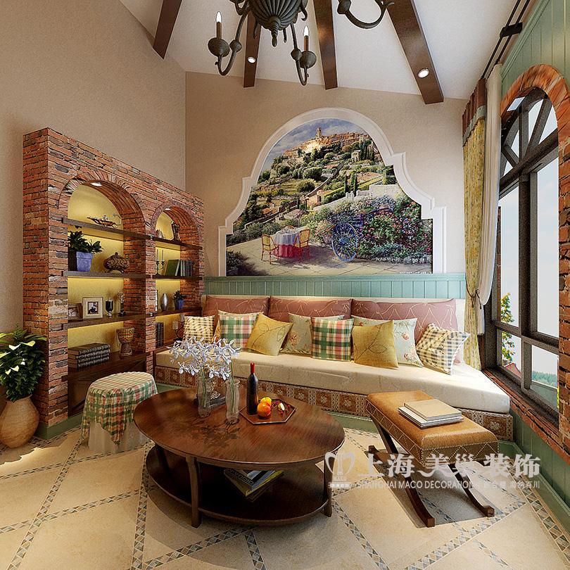 郑东新区建业天筑45平一室一厅装修地中海效果图案例——入