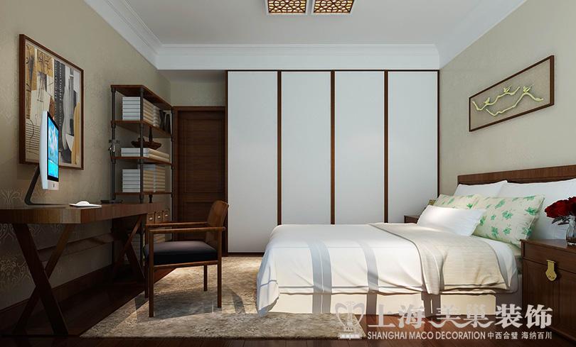 民安北郡新中式三居室样板间117平装修效果图——卧室