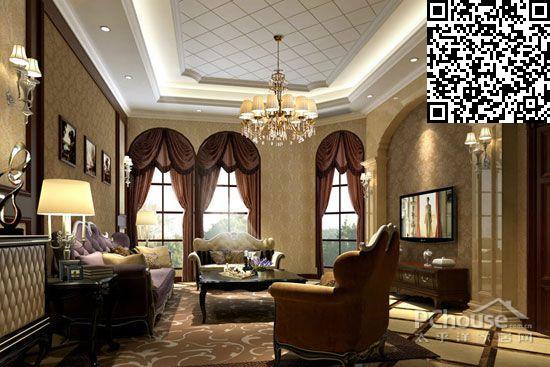 挑高客厅窗帘效果图大全     三大客厅飘窗搭配深色窗帘