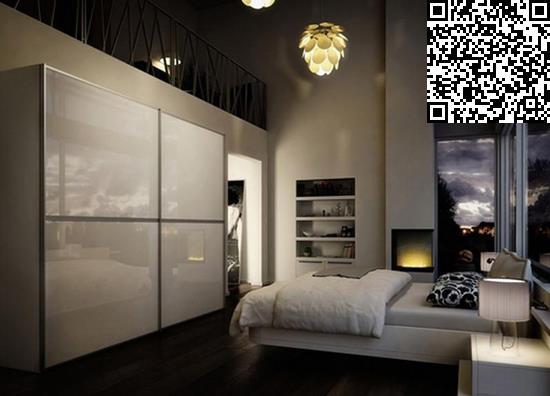 卧室衣柜装修效果图     设计重点:内嵌床头空间