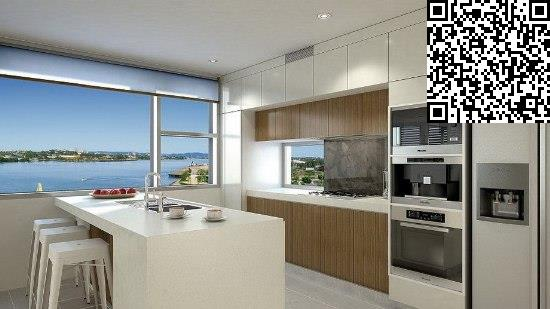 欧式风格的简约设计,厨房的空间比较大,非常宽敞,连接一个大窗户