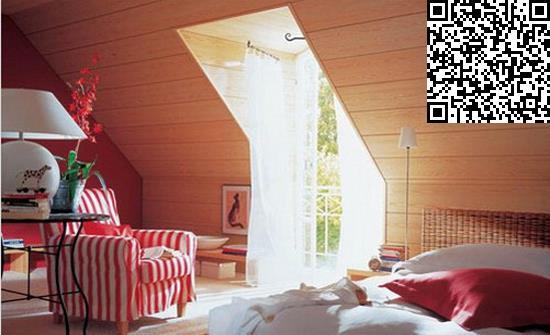 用宽木板装饰斜面屋顶,墙面整洁大方又充满质感