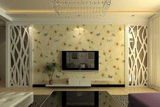 欧式客厅背景墙壁纸     传统大马士革图案,大胆的配色,是富贵