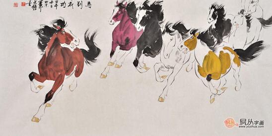 卧室装饰画精品:骏马图 王文强写意动物画作品《马到成功》 作品