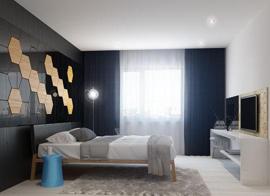 设计重点:背景墙设计      编辑点评:木质和大理石五边形