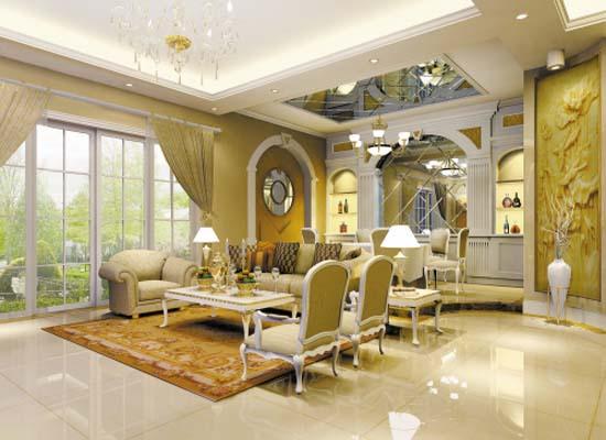 以白色为主,素材多为罗马柱,雕饰,洛可可式家具,欧式古文化,水晶宫灯