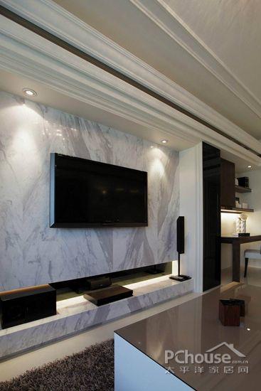 2014年客厅电视墙图片大全5     设计时便先预留管线位置,全面隐藏