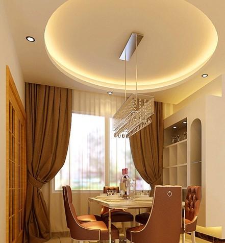 欧式吊顶装修效果图:精致的餐厅光效果.