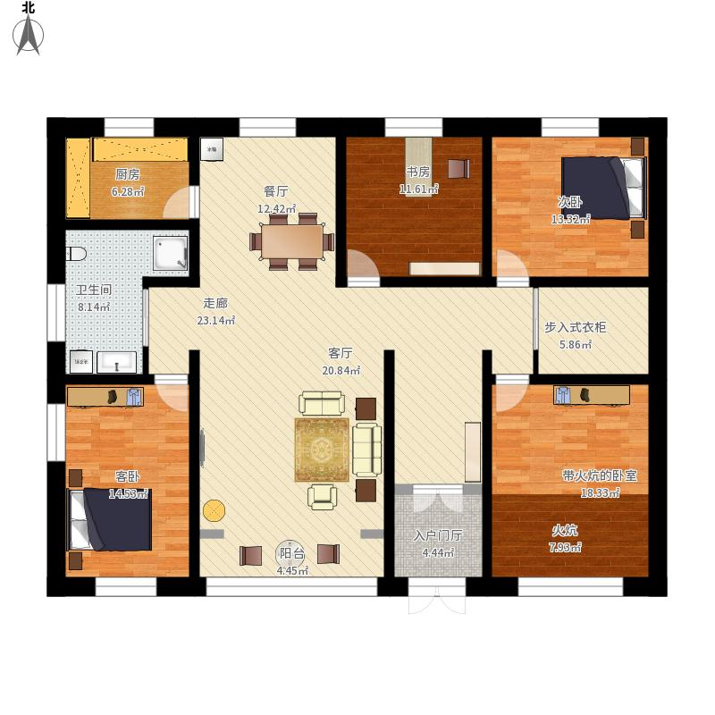 农村平房三室一厅一厨一卫求设计图尺寸