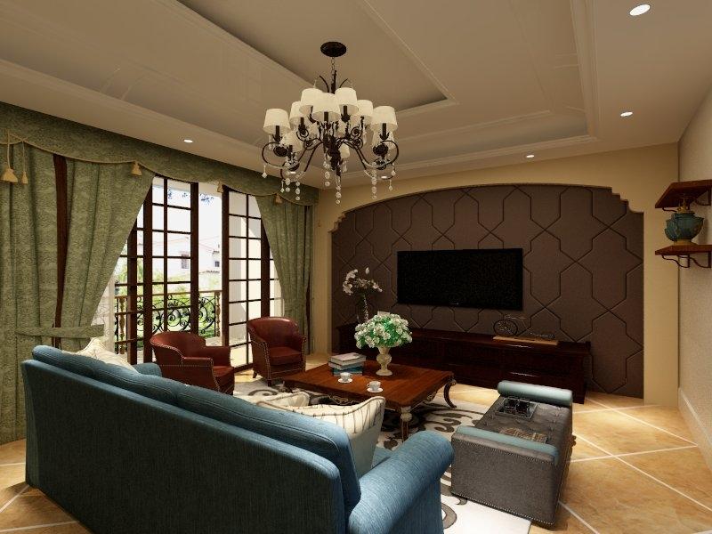 无限好采光,以阳光为伴,延伸家居整体的暖黄系地砖,墙灯的美式图片