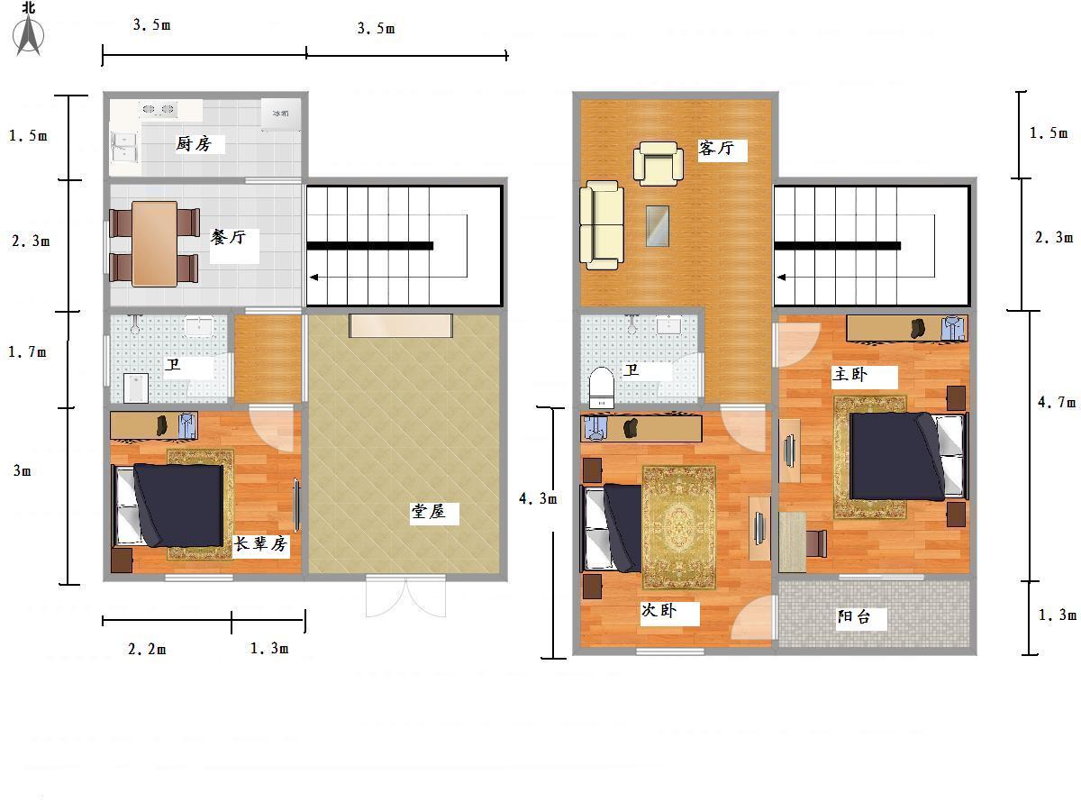 走廊利用改善風水衛浴間改造 房子是坐北朝南圖片