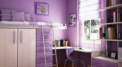 卧室设计     紫色的空间有种梦幻的色彩适合女孩子的主色调,将床图片