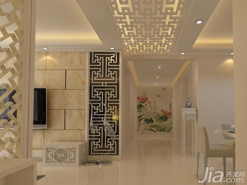走廊吊顶装修效果图   小编点评:方形格子吊顶造型与屋内的整体装修