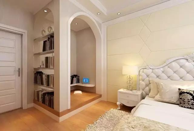 简约卧室带书房装修效果图