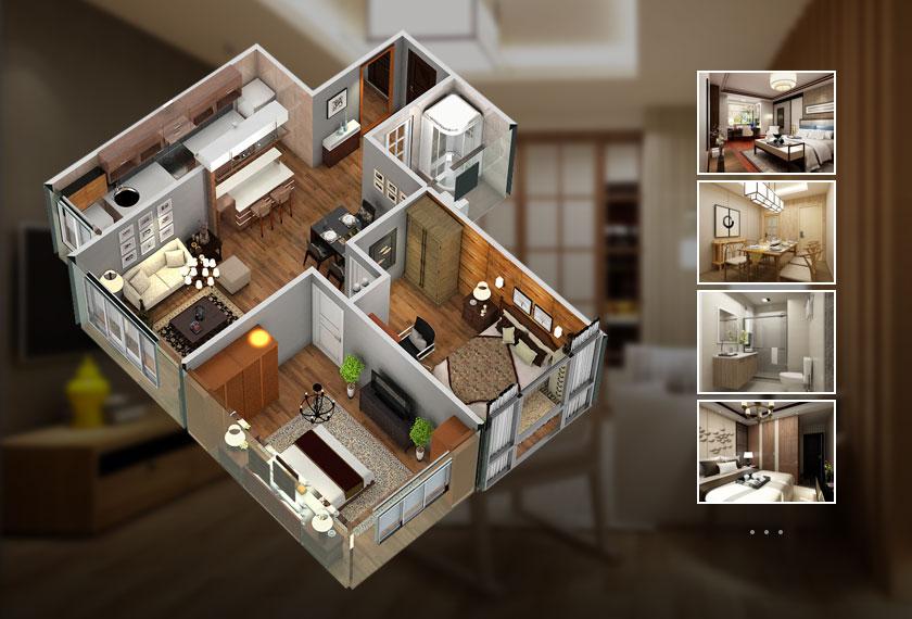 全屋高清俯视图(1张)  ¥50 客餐厅高清效果图(3张)和3d全景图(1份