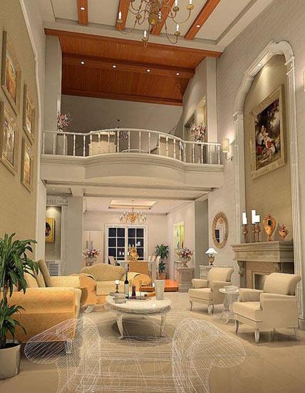 欧式客厅装修效果图: 简欧式客厅打造,时尚简约,纯白简单的线条无遗