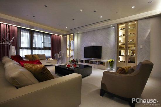 以黑白图腾的壁纸为框架,搭配白色复古砖墙造型的影视墙造型,电视