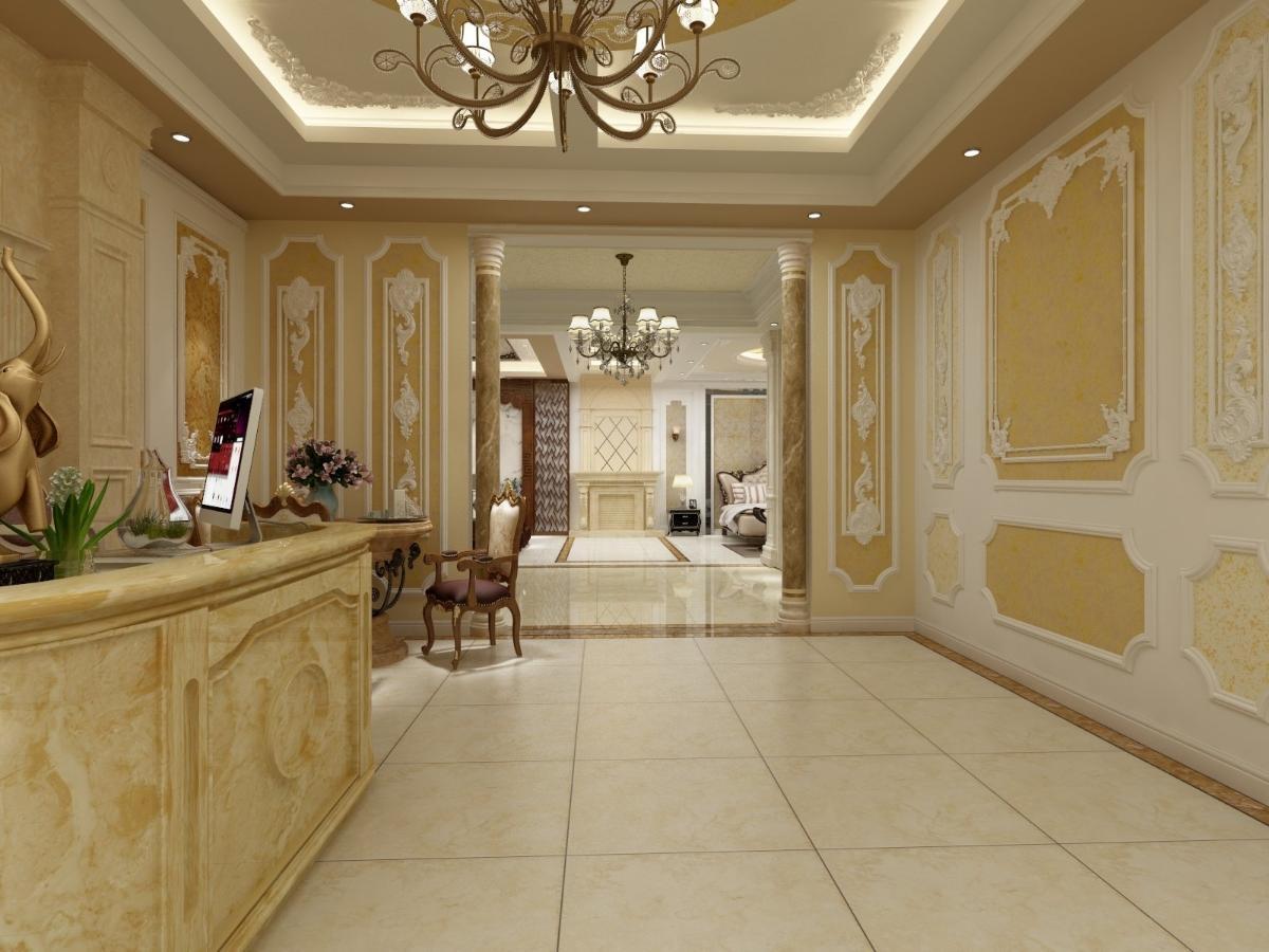 进门做的是门厅,欧式的大气吊顶,加上墙面的艺术漆配色,彰显着华贵图片