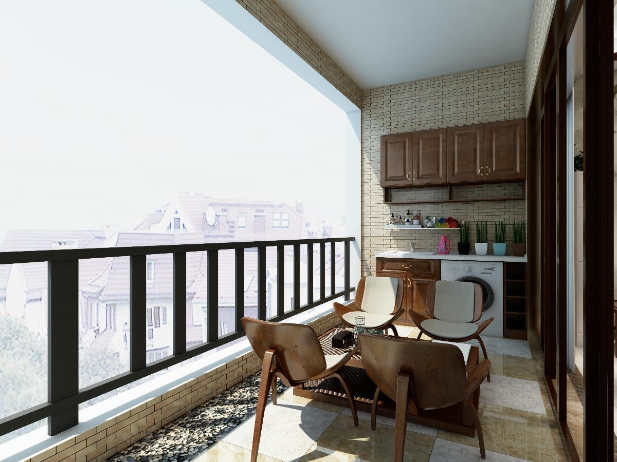 阳台: 大阳台设计分三个区域,正对客厅的是休闲区,一区域晾晒衣物