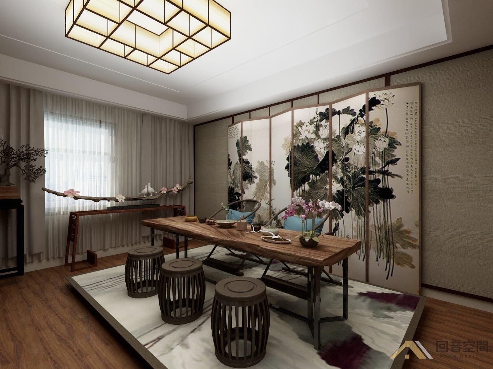开放式空间与休闲区屏风家具需要,客厅写意装饰与木质茶室融合设计结合ue设计图片