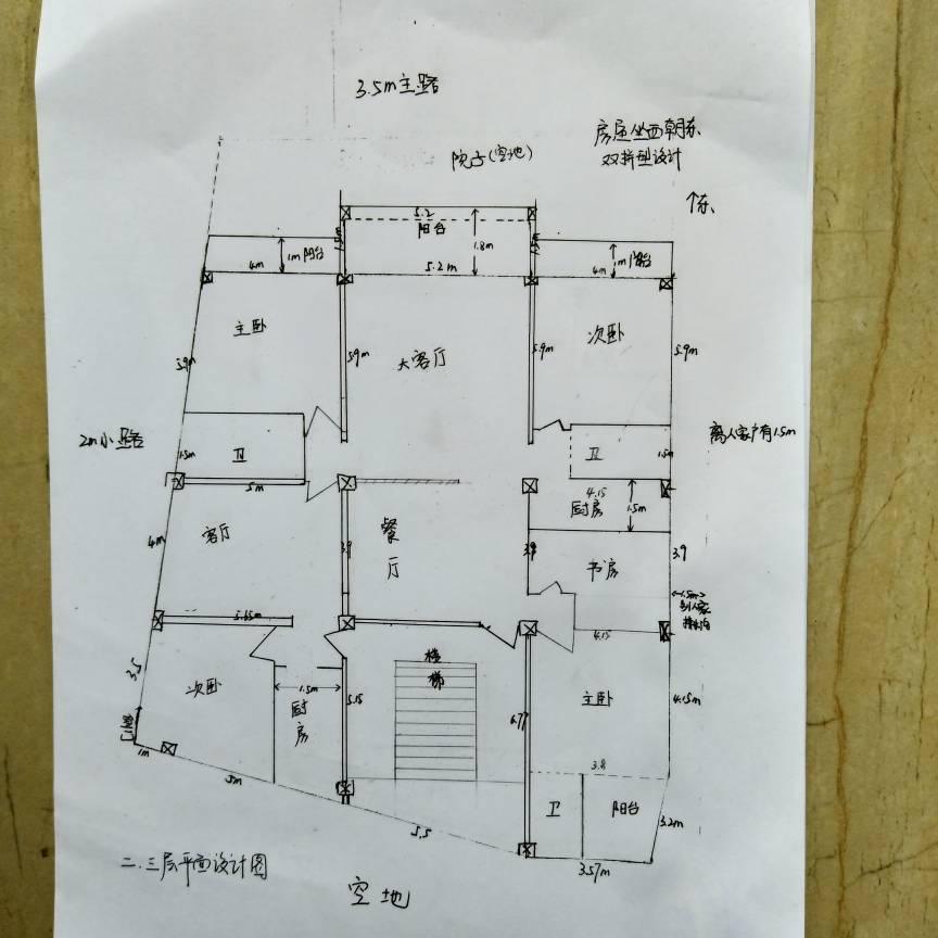 自建三层楼房,全框架设计,求指教房间布局和楼梯设计!