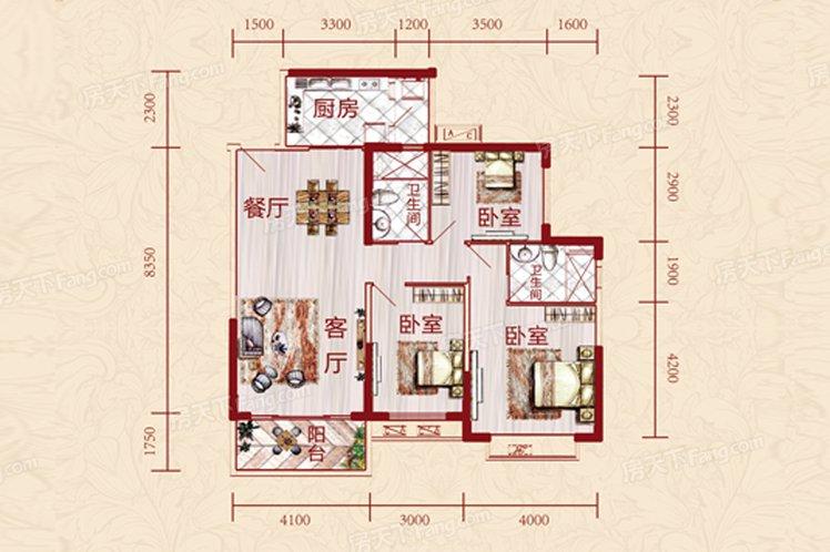 中国户型大全 贵阳 恒大雅苑 130㎡及以上  沈鸣放 建筑面积:132平方