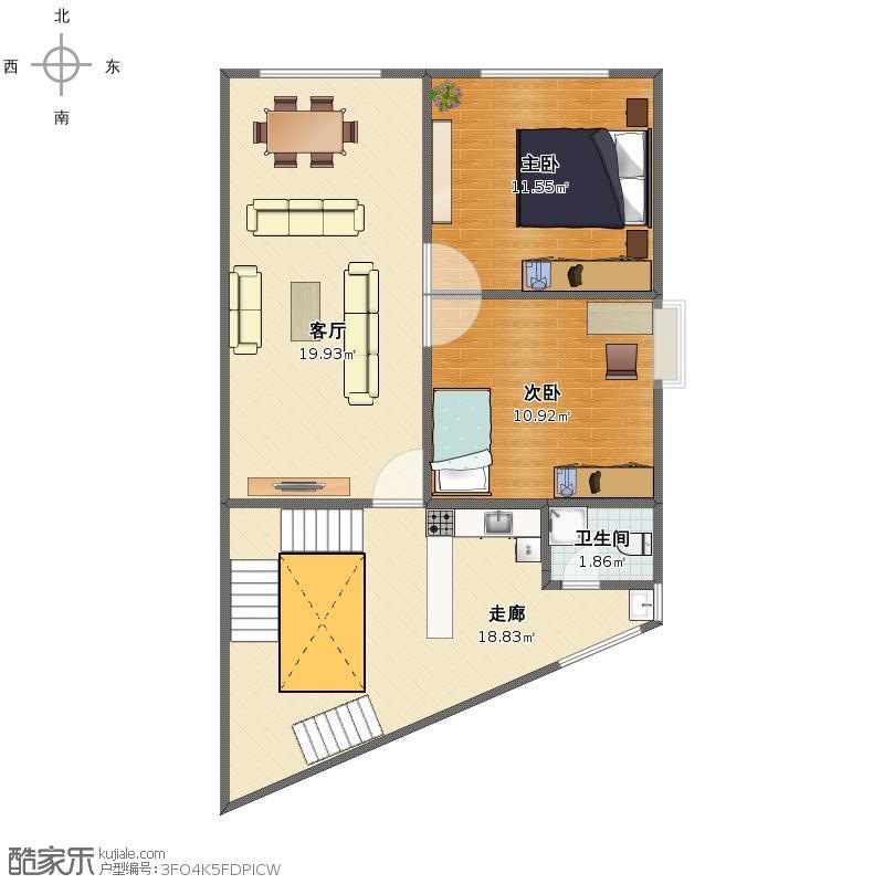 自建房二集三层80平方设计图纸一层,卫生间,老人房,客厅,楼梯间,厨房
