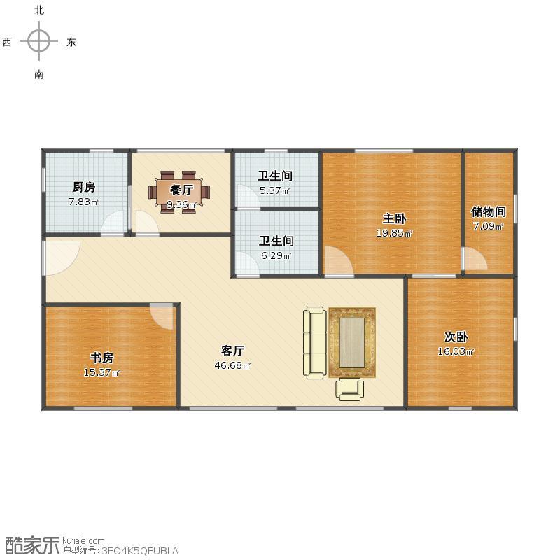 130平方米三室两厅一卫设计图