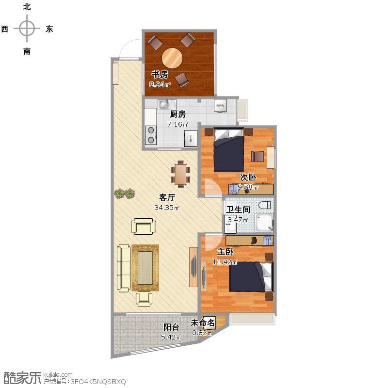 润和紫郡三室两厅一卫户型图
