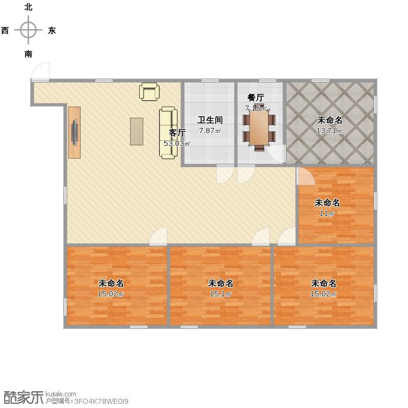 四室两厅一卫一厨户型图