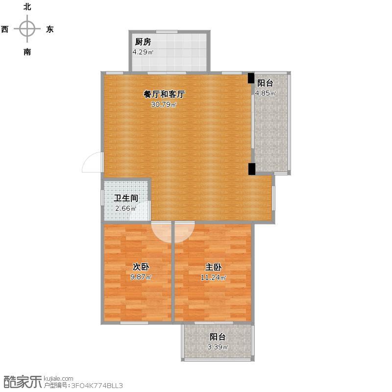 星汇半岛二期2室0厅1卫1厨90.00㎡户型图