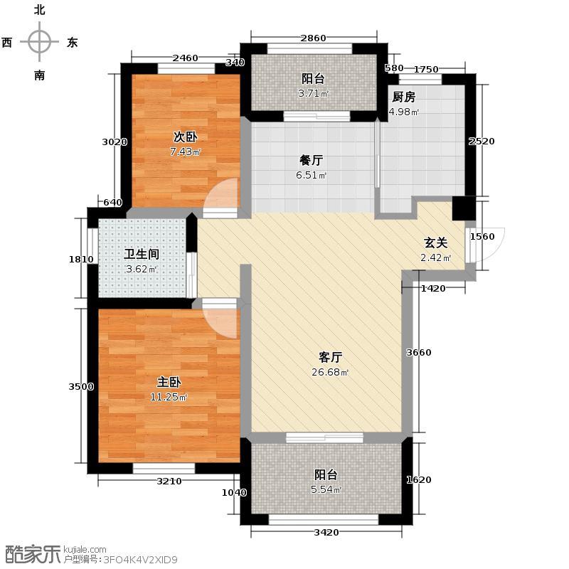良渚文化村探梅里二期2室1厅1卫1厨89.00㎡户型图图片