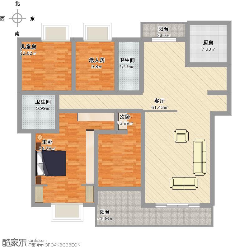 八方小区4室1厅2卫1厨233.00㎡户型图