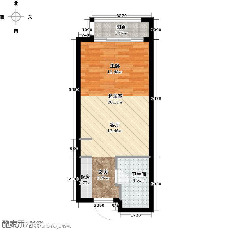 保亿风景晨园1室1厅1卫0厨42.00㎡户型图