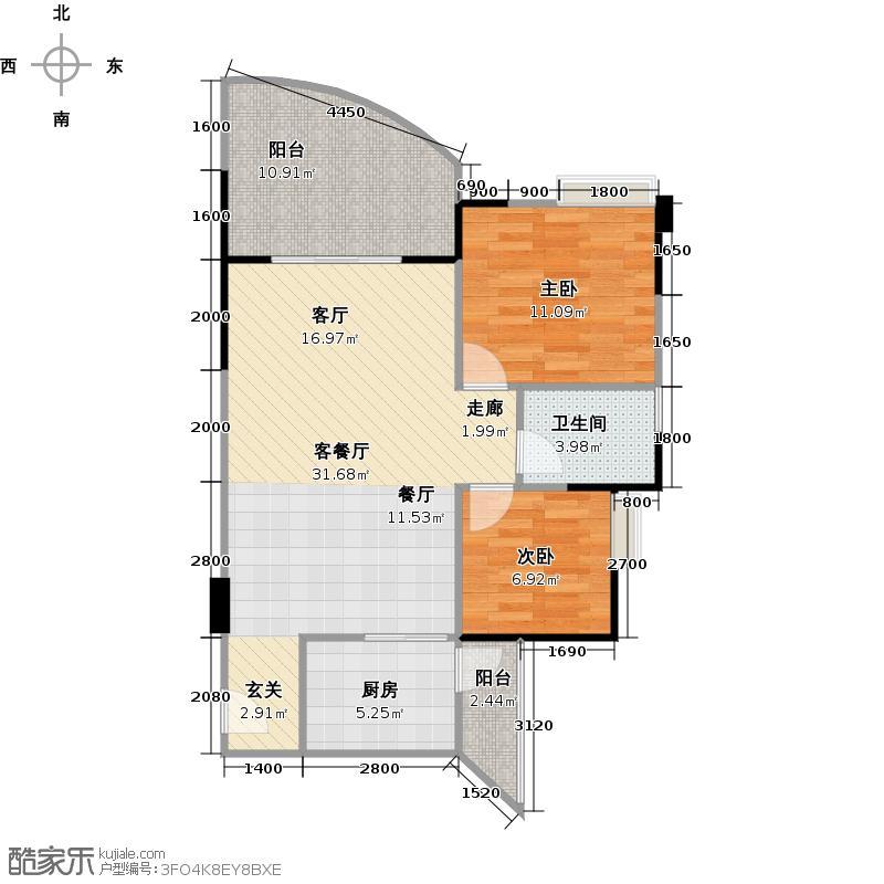 锦绣江南二期2室1厅1卫1厨97.00㎡户型图