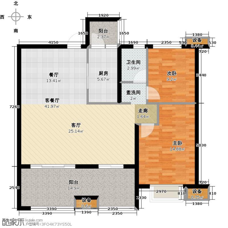 南通万达广场2室1厅1卫1厨132.00㎡户型图