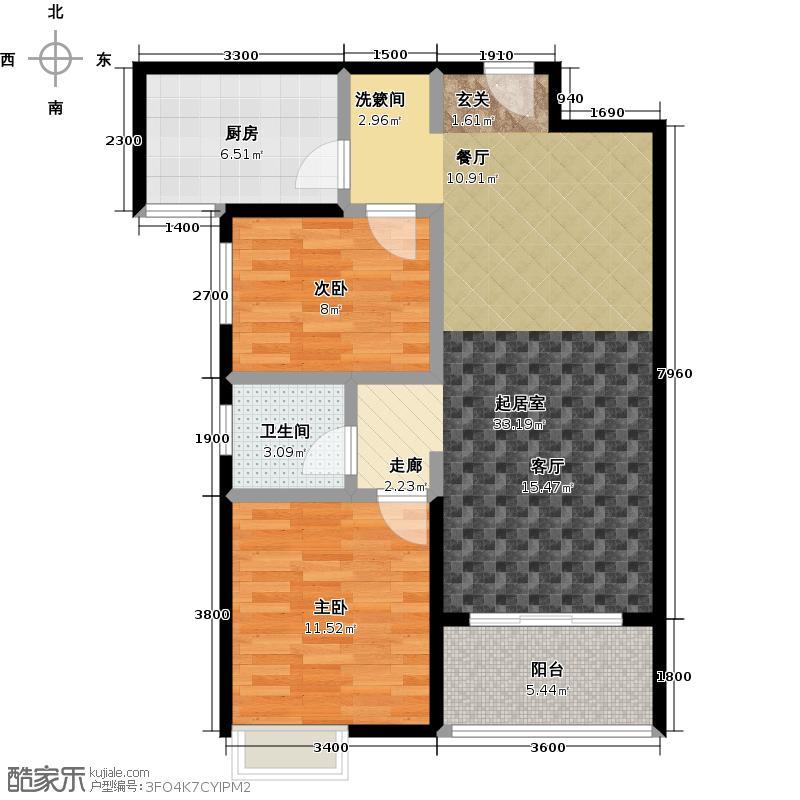 华盛国际2室0厅1卫1厨90.00�O户型图