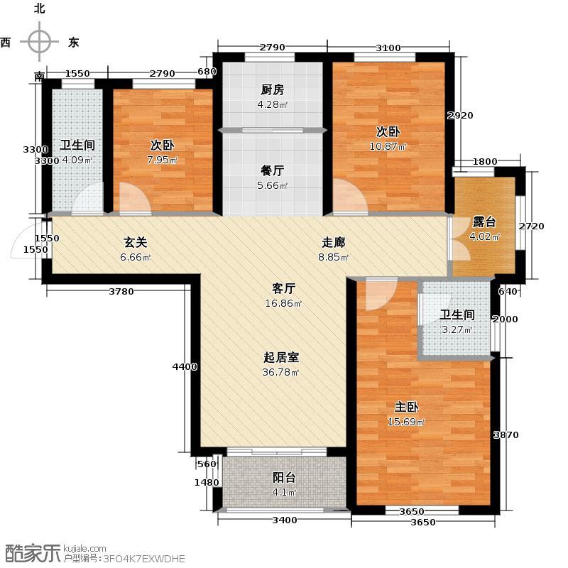 金屋秦皇半岛3室0厅2卫1厨121.00㎡户型图
