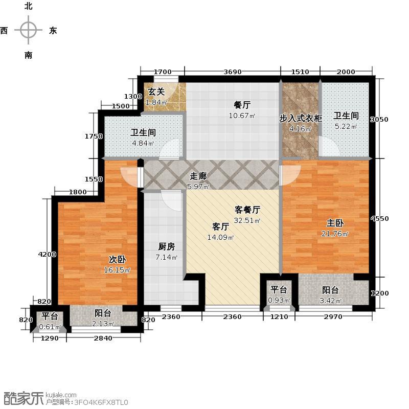 华远汤米公馆2室1厅2卫1厨120.00㎡户型图