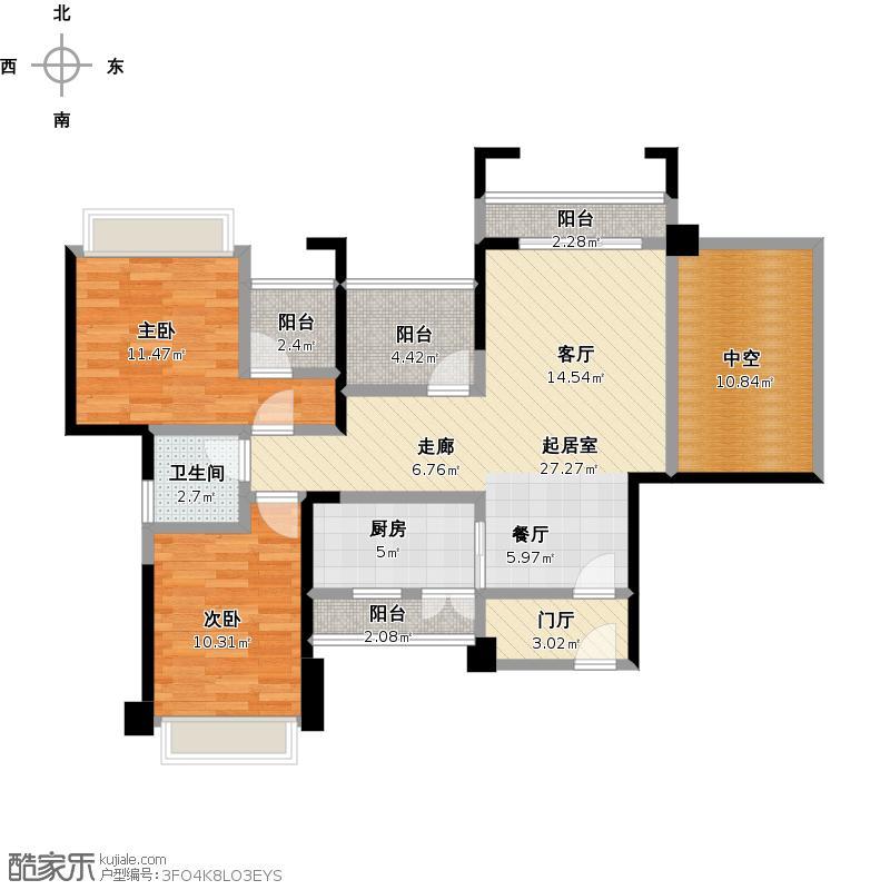 中国户型大全 南宁 人和莱茵鹭湖 2室0厅1卫1厨 100-130㎡  户型图报