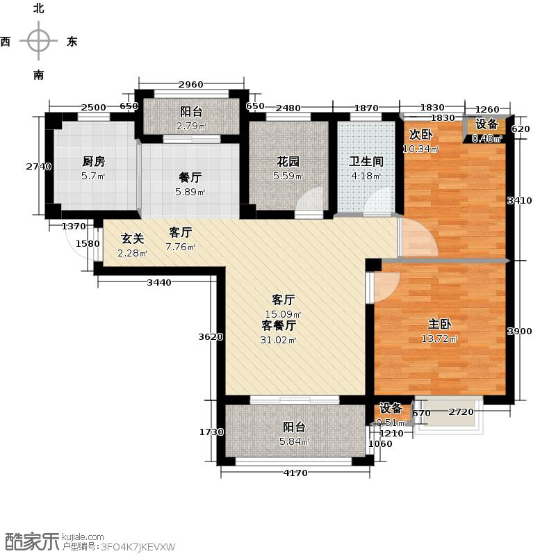 中国户型大全 淮南 瀚城 2室1厅1卫1厨 100-130㎡  户型图报错 面积有