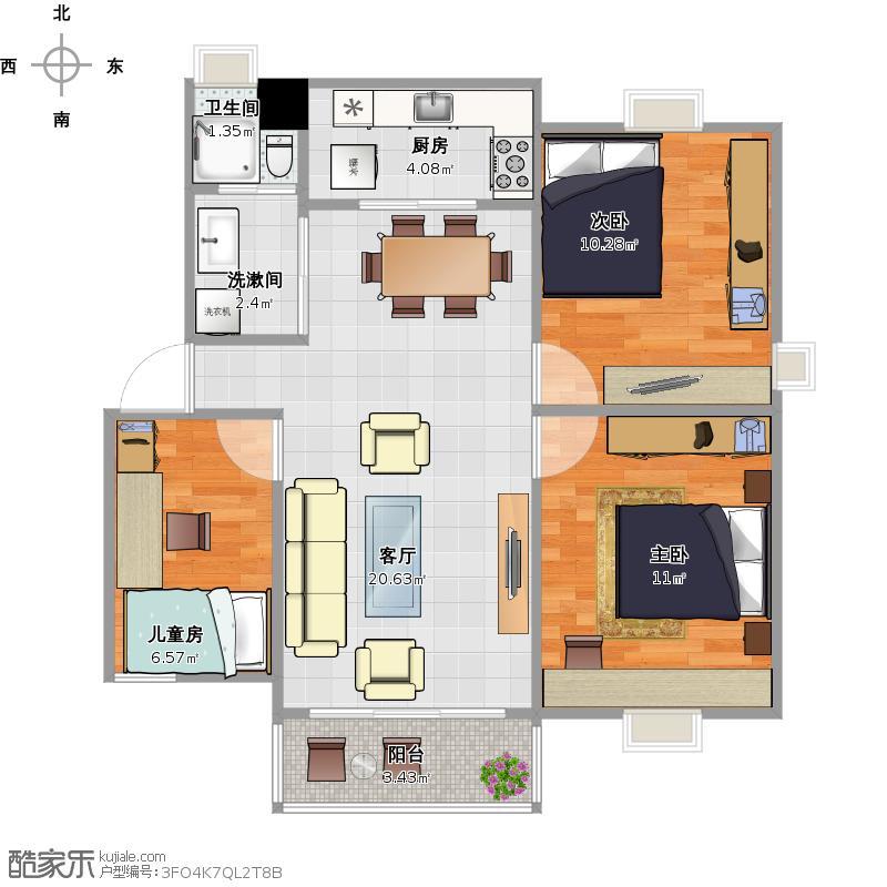 新世纪花苑3室1厅1卫1厨82.00㎡户型图