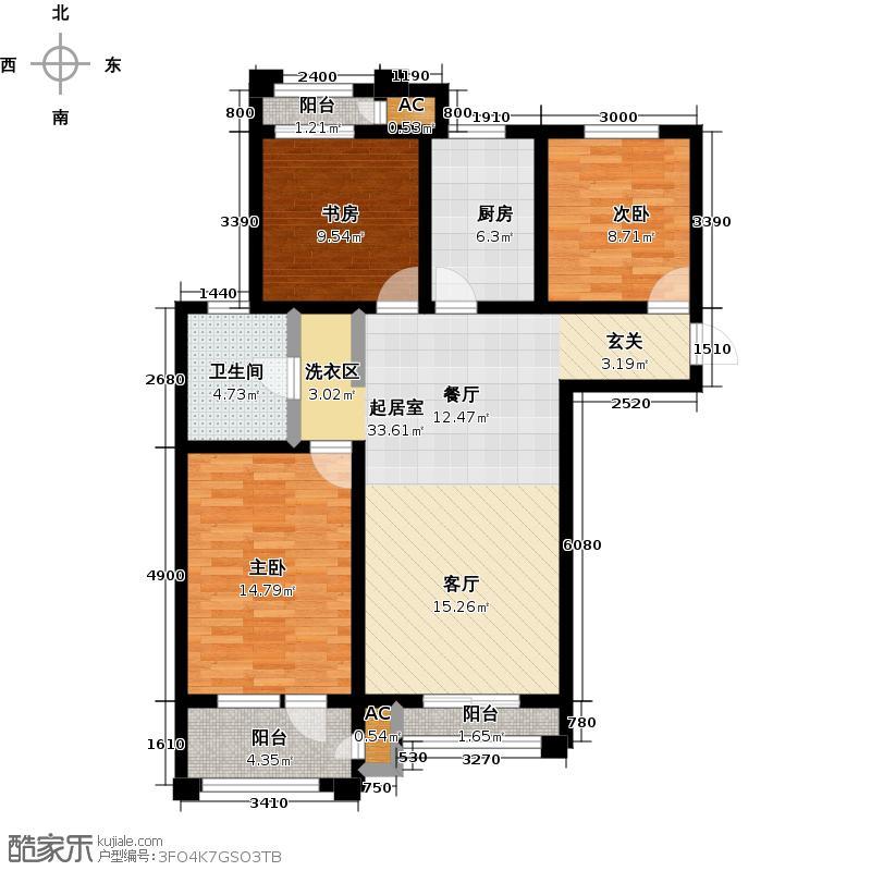 正北蔚蓝半岛3室0厅1卫1厨126.00㎡户型图
